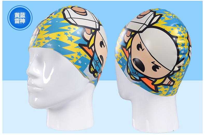 儿童硅胶泳帽美国队长卡通版小孩蜘蛛侠泳帽防水护耳可爱米妮_红白