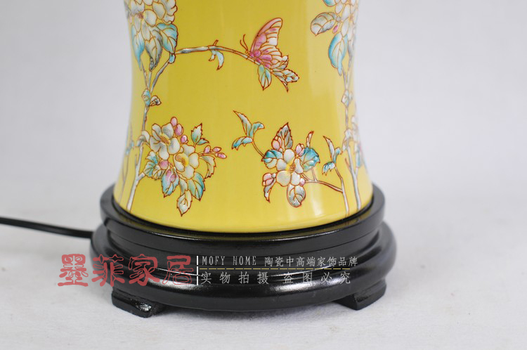 景德镇粉彩台灯 欧式现代卧室床头古典陶瓷器装饰手绘台灯具