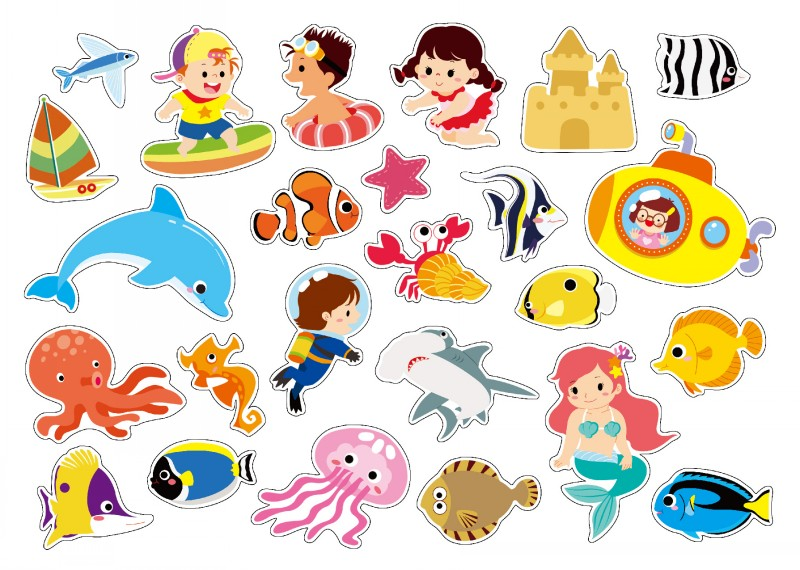 好好玩磁贴情景游戏系列海洋大探索宝宝贴画书2-3岁反复贴智力启蒙3d
