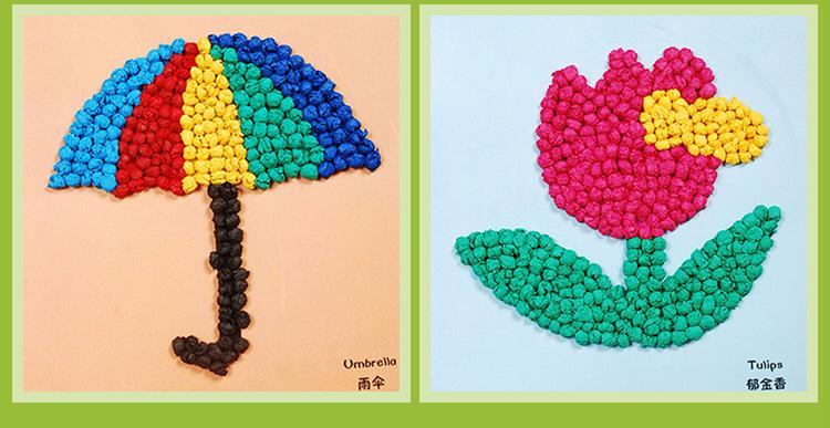 手揉纸搓纸粘贴画创意diy 幼儿园儿童手工制作材料包游戏玩具 全套