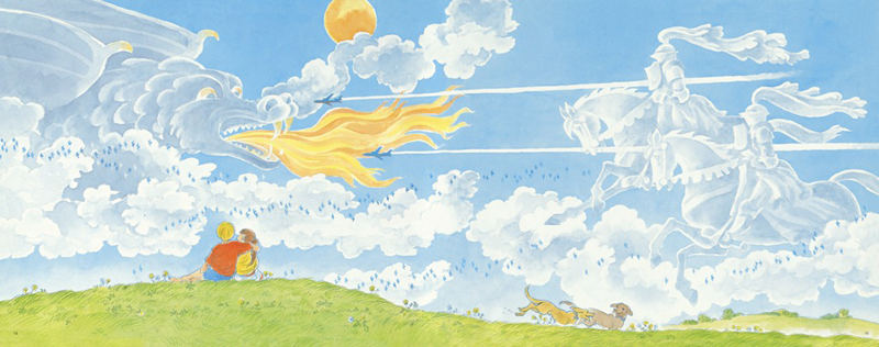 当然,除了太阳,作者还在画面中设置了诸如蝴蝶,蜻蜓,水鸟,飞机,热气球图片